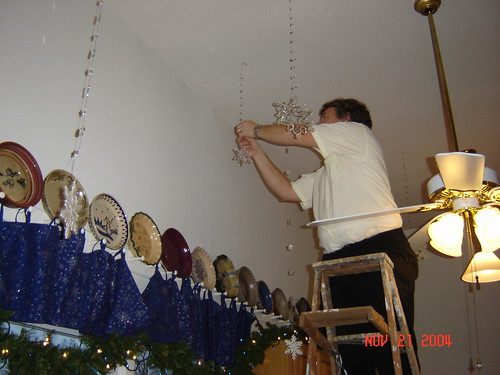 hanging snowflakes in the kitchen