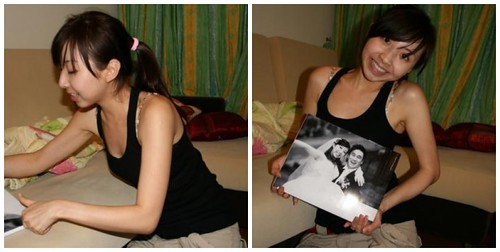 Smiling Vivian with the photo album