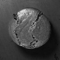 Macaron B&W (Pete Rocks) Tags: cute circle 50mm sweet chocolate flash tasty goods snacks squared strobe baked macaron