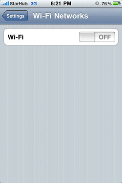 Step 6: Turn on Wifi and choose NUS.