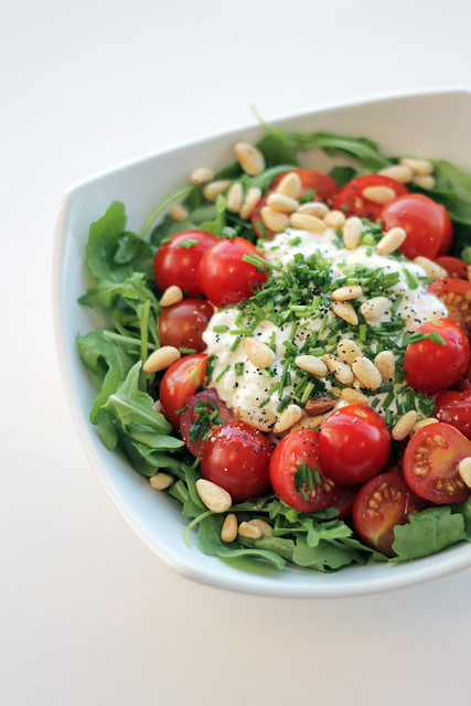 Cottage Cheese, Cherry Tomatoes and Rocket