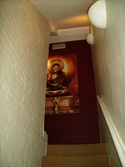 the Buddha on the stairs