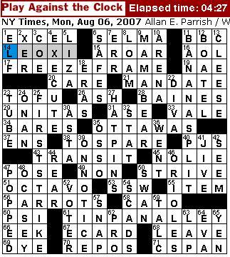 Rex Parker Does the NYT Crossword Puzzle: MONDAY, Aug. 6, 2007 - Allan