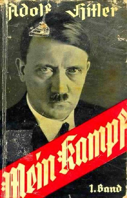 Left: 1925 front cover of Volume I of Hitler's Mein Kampf