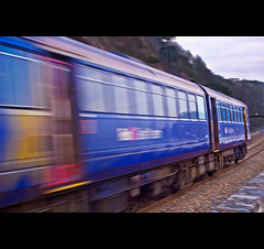 Blue Blur Whooosh (Komatoes) Tags: blue blur train 50mm devon monday f18 fifty nifty teignmouth