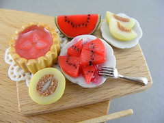 Seasonal Fruits (Shay Aaron) Tags: red food house scale kitchen fruit ceramic miniature spring strawberry doll handmade board aaron fake mini watermelon faux shay melon tart 12th 112 preparation dollhouse twelfth oneinchscale shayaaron pieldesapomelon