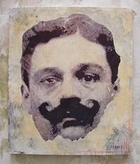 Jules Bonnot (-CINASKI- LSDR) Tags: street art ink paper french stencil acrylic glue canvas criminal anarchist tigre bonnot illegalist cinaski