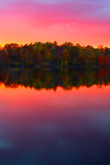 Sunset over the Island - in explore (SunnyDazzled) Tags: longexposure autumn trees sunset sky lake newyork nature water reflections island pond lowlight scenery colorful bright autumnleaves fallfoliage roundpond