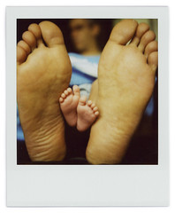 Study on Teo's feet (Cℓea tecℓea) Tags: feet closeup polaroid sx70 topf50 topv1111 teo bigfoot 1month sx70blend