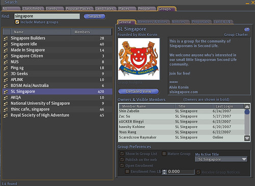 screenshot - Singapore Groups in SL