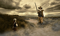 The King's shilling (Matt West) Tags: fab sky mist history beach clouds gun rifle sword cavalier battlefield reenactment dragoon musket englishcivilwar views800 views600 thesealedknot shotte sirgervaselucascompanythebelvoircormorants