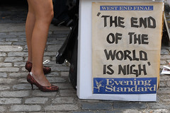 'THE END OF THE WORLD IS NIGH' (johanna) Tags: red headlines blisters eveningstandard faketan stillettos
