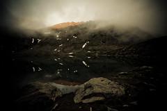 The Spirit Rises (code poet) Tags: sunset mountain lake snow reflection water rock fog alaska clouds landscape rocks glow 1022mm hatcherpass summitlake
