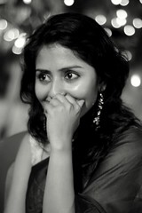 (hpk) Tags: blackandwhite bw woman india hpk vikram nid girl beautiful beauty lady eyes sweet bokeh bodylanguage shy banglore kuheli