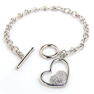 Heart Charm SS Bracelet-Toggle - 88.00