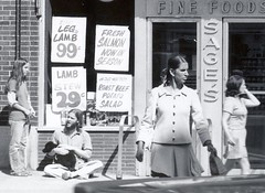 Sage's Fine Foods (AntyDiluvian) Tags: woman girl crossing harvard salmon harvardsquare potatosalad scanned 70s hippie 1970s churchstreet roastbeef massave massachusettsavenue sages lambstew legoflamb brattlestreet finefoods