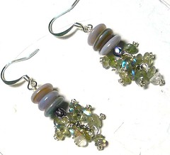 Earrings : Lilac Grey Heishi with Labradorite Oval Clusters (CRAVEBEAUTY) Tags: grey with clusters shell jewelry lilac earrings oval labradorite heishi cravebeauty cyndymcc sunnyreston