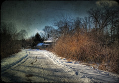 Almost Home (Patrick Campagnone) Tags: road family winter house snow cold texture ice home photoshop canon vintage landscape bush massachusetts country digitalart chilly hdr countryroad pepperell tamron1735mm 40d