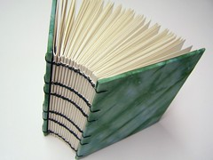 spine, hand dyed fabric coptic book