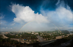 Rainbow bridge over Glendale (Lucas Janin | www.lucasjanin.com) Tags: california street bridge blue sky panorama usa cloud mountain color building green landscape iso200 losangeles rainbow glendale outdoor vert bleu route ciel freeway pont 24mm autoroute nikkor nuage rue f71 couleur ville batiment californie lightroom autopanopro lightroom3 nikond700 lucasjanin afsnikkor2470mmf28ged
