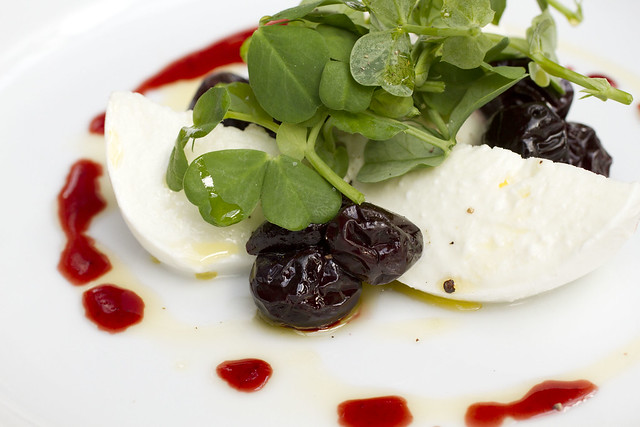 fresh mozzarella and damsons