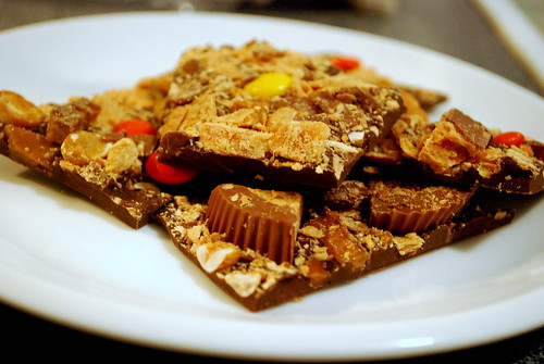 Halloween Peanut Butter and Toffee Candy Bark