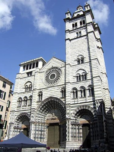 St. Lawrence Cathedral in Genoa with striped façade