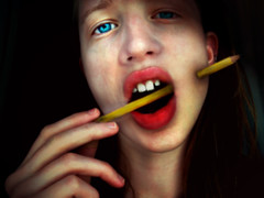 Put Your Creativity Where Your Mouth Is (kkelly2007) Tags: blue portrait pierced selfportrait black eye me girl pencil photoshop manipulated mouth dark hand bright photoshopped teeth fingers lips pierce through aplusphoto