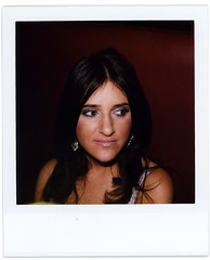 booth lady (flybutter) Tags: nyc film null polaroid wintergarden benefit slr680 afterparty bflat 779 flybutter miracleatgroundzero sohosynagogue beyondblacktie superfluousdrinking