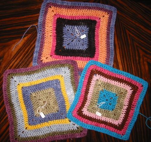 Babette Blanket, WIP, 3 squares