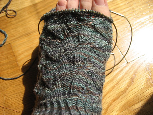 Embossed Leaves Socks - in progress