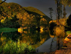 Sunset lighting on the Lac du Mle (France) (Al Brando) Tags: reflection water canon dusk powershot soe hdr g7 tophdr goldstaraward goldenheartaward