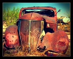 Rusted Car (lomo fake) (sandy.redding) Tags: lomofake hdr picnik inyokern nikkor1855mmf3556g 5fingersranch