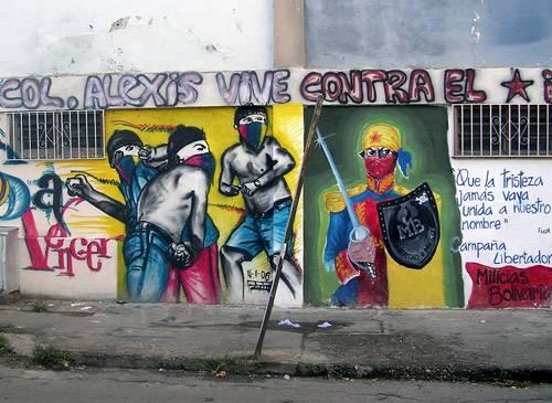 bolivar y alexis vive. mural barrio 23 enero, caracas