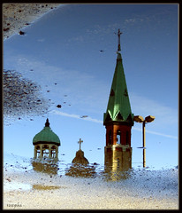 St. Pat's in a Puddle (suephi_yippie! I have a camera again!!!) Tags: pictures show winter chicago reflections photo stpatrickscathedral images puddles theunforgettablepictures multimegashot justchicagoart suephi susandphillips