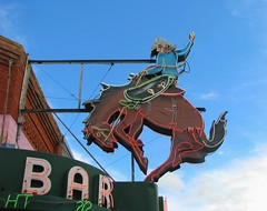 Ride em Cowboy (bluerim) Tags: bar mainstreet cowboy neonsign wyoming saloon americanwest buckingbronco sheridancounty sheridanwy
