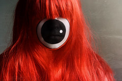 Day Three Five Nine (Lou Bert) Tags: red portrait orange eye art halloween girl face make up self one costume paint makeup cyclops rawr wig facepaint oneeyedhairymonster