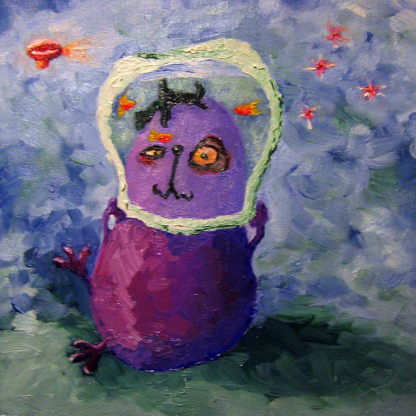 Pickled Eggplant - Fiona Morgan. An example of square brush in my work