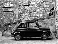 Cara vecchia 500 (gaia3gaia) Tags: auto old blackandwhite italy car vintage italia fiat spirals memories tuscany montepulciano 500 ricordi biancoenero blackandwhitebeautys
