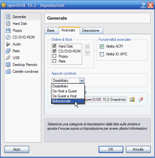 VirtualBox - scelta ordine di boot e attivazione Appunti condivisi