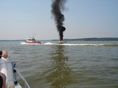 Fairfax VA FD extinguishing a boat fire