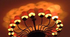 Merry-go-lights ( Popotito ) Tags: shadow red orange reflection luz lamp yellow lights luces rojo iron shadows sombra shades ceiling amarillo chandelier reflejo bulbs lampara naranja sombras techo pantallas hierro fierro colgante focos bombillos impressedbeauty