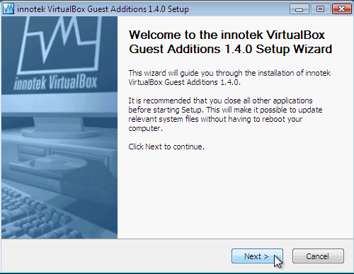 Fig. 3 - installazione VirtualBox Guest Addition in Windows Vista - inizio setup