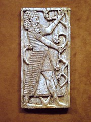Assyrian plaque with a standing figure dressed in Egyptian-style costume (ggnyc) Tags: nyc newyorkcity museum plaque manhattan ivory carving met mesopotamia metropolitanmuseumofart assyrian nimrud neoassyrian kalhu