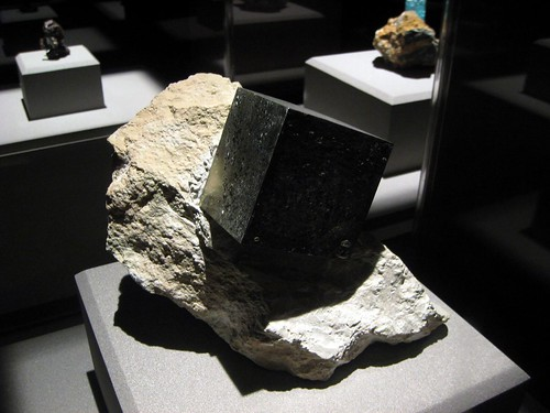 A big chunk of pyrite inside the Houston Museum of Natural Science