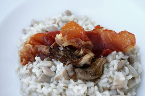 Risotto ai funghi pleurotus con chips di prosciutto
