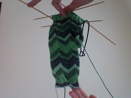 Jaywalker Mitt, in progress