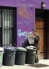 NYC: Man Reading Newspaper