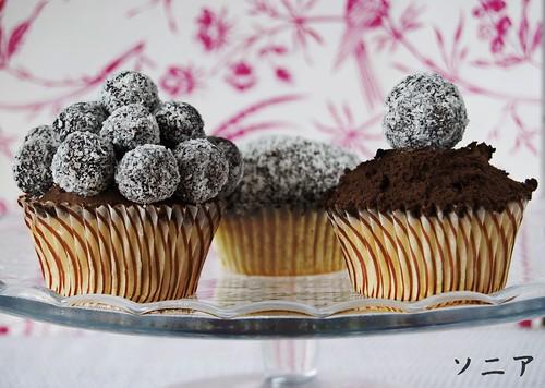 Presentaciones cupcake de coco y trufa