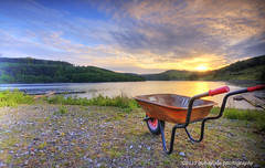 wheelie barrowing a sunset (gobayode photography...times) Tags: sunset lake nature landscape derwentvalley derbyshire wheels lakeside wheelbarrow barrow ladybower beautifulevening sunsetcolours naturecolours derbyshirelandscape colourfulevening wheelingsunset wheelingasunset